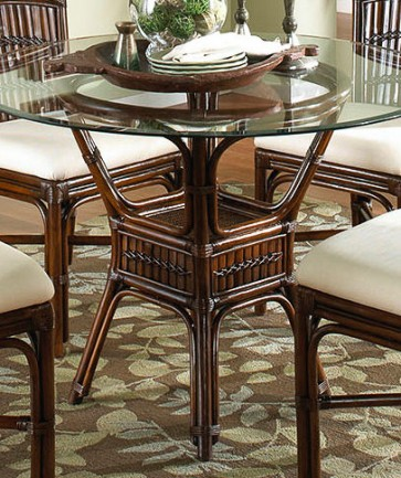 Tahiti Indoor Rattan & Bamboo Round Dining Table