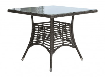 "Graphite 36"" Square Table w/grey tempered glass"