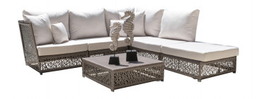 Maldives 6 PC Sectional Set w/off-white cushions