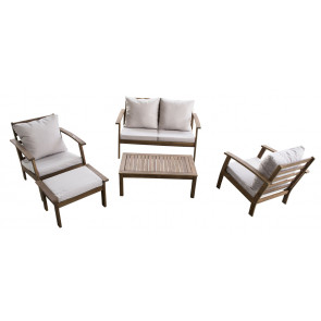 Sunset Cay 5 PC Settee w/beige cushions