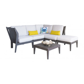 Poolside 6 PC Sectional Set w/off-white cushions